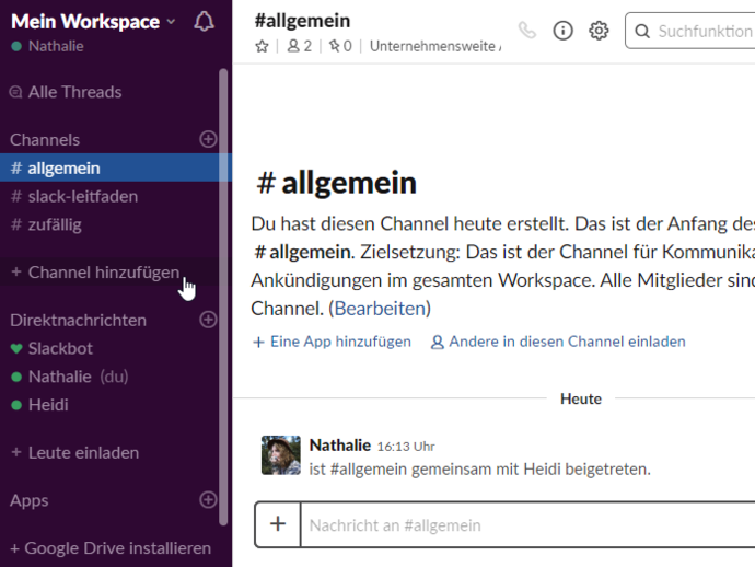Slack_3 Channel erstellen Button